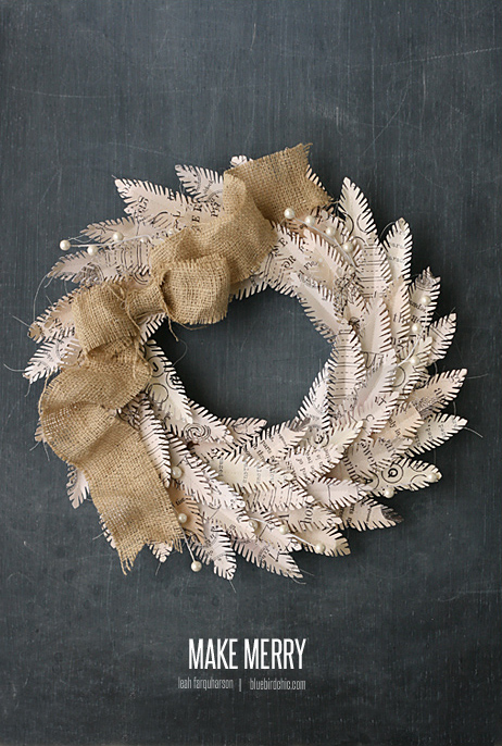 make merry feather wreath - bluebirdchic.com