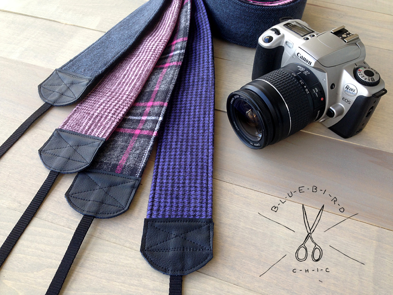 bluebirdchic flannel backed camera strap