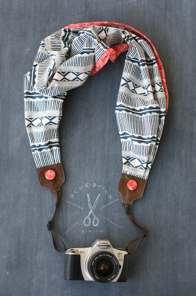 bluebird chic arizona red scarf camera strap