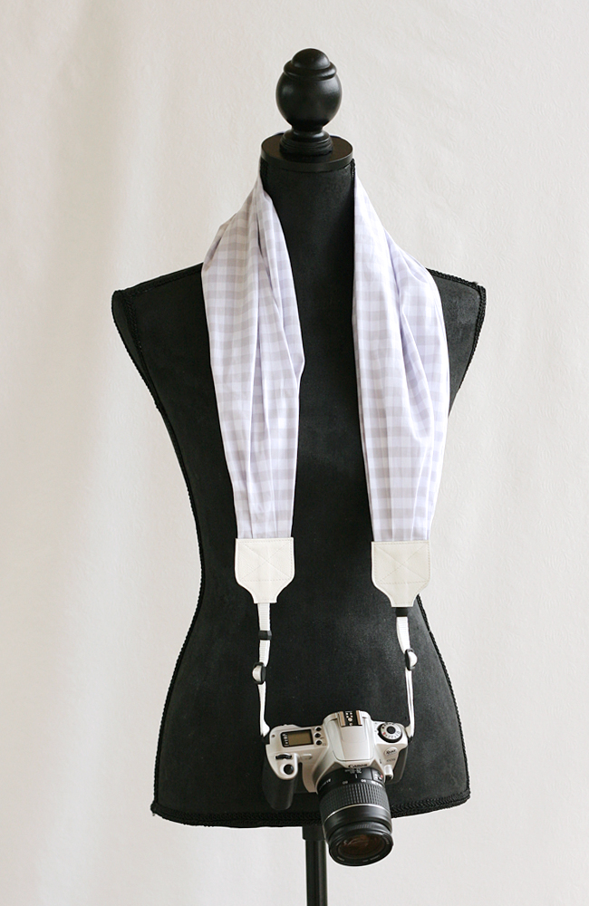 bluebird chic scarf camera strap gray gingham