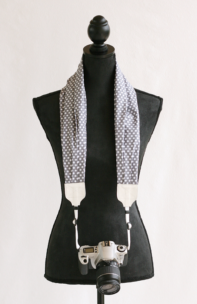 bluebird chic scarf camera strap gray polka dot 1