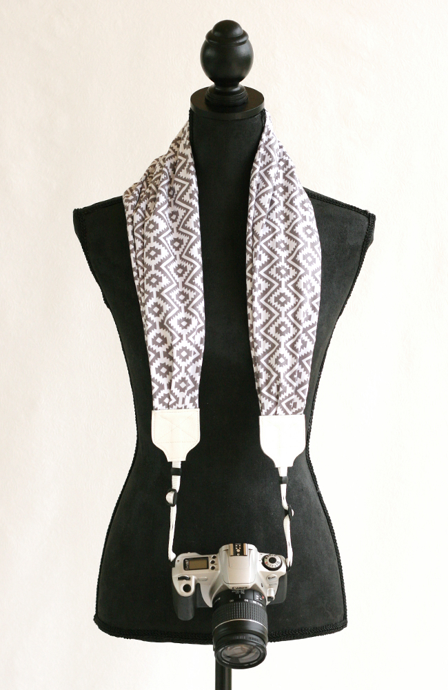 bluebird chic scarf camera strap gray tribal