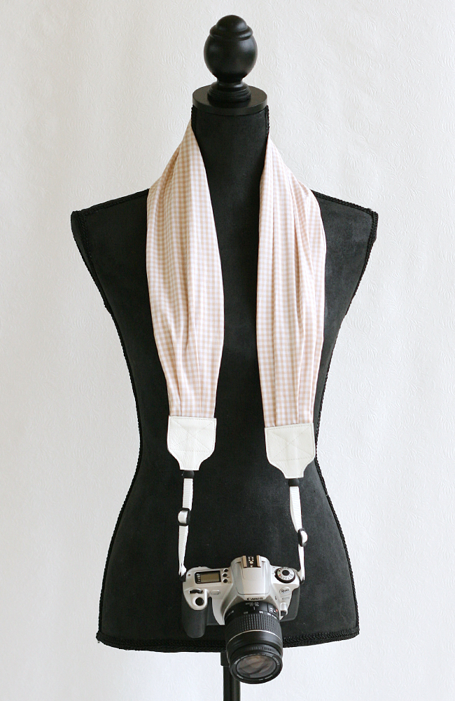 bluebird chic scarf camera strap khaki gingham 1