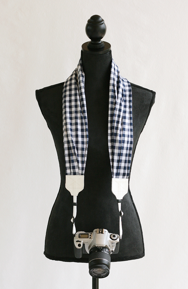 bluebird chic scarf camera strap navy blue gingham 2