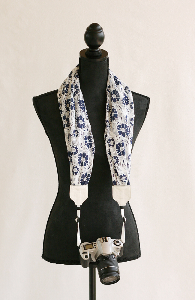 bluebirdchic_scarf camera strap navy lace flower 2