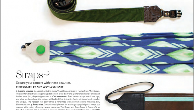 September 2015 Click! Magazine featured peacock ikat scarf camera strap