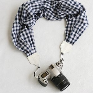 navy gingham scarf camera strap - bluebird chic