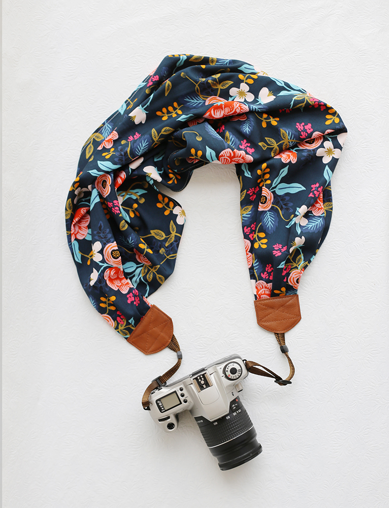 Navy Birch Bark Floral Scarf Camera Strap | Bluebird Chic