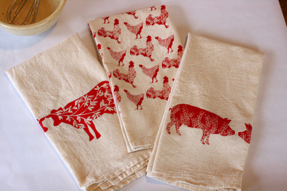 Hand-Painted Flour Sack Towels | High Fiber