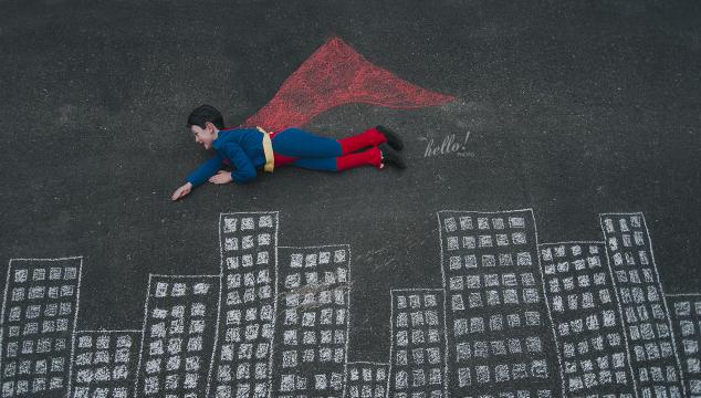 DIY Super Hero Chalk Photos